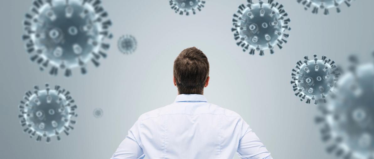 Man looking at corona virus