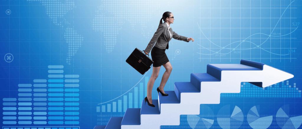 Woman walking on virtual career ladder